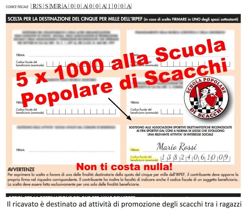 Sostieni la ASD Scuola Popolare di Scacchi con il 5 x mille!!