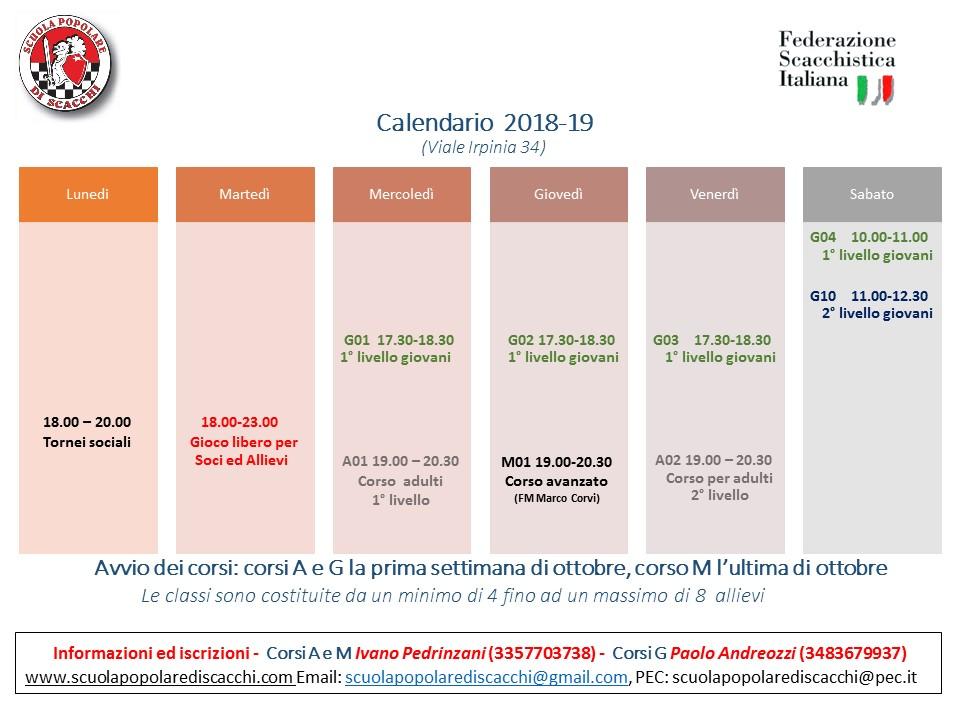Calendario Tornei Scacchi.Calendario 2018 19 Asd Scuola Popolare Di Scacchi